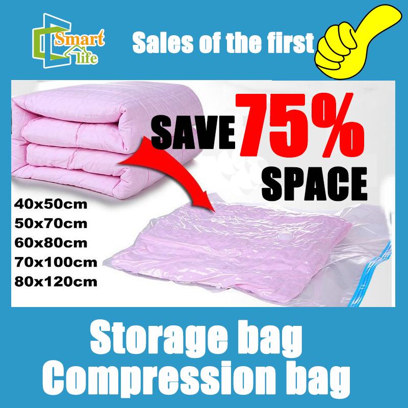 Free shipping 5pcs/lot 40*50/50*70/60*80/70*100/80*120 Vacuum storage bag /Vacuum compressed space bag(China (Mainland))