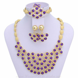 Gold Plated Necklace Charming Purple Rhinestone Water Drop Pendant Earrings Fashion Austria Jewelry Set , Mother Day Gift(China (Mainland))