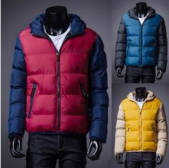 2014 autumn winter fashion leisure Parkas keep warm slim cotton-padded Hooded jackets man thickening coats men's free shipping