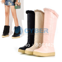 WOMEN LADIES Winter Warm Synthetic Leather Flat High Boots Snow Boots  9458