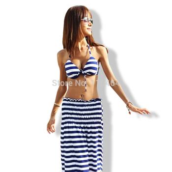Hot Sale Navy Stripes Sexy  Women Bathing Suits Plus Size Lady Swimwear Summer Beach Wear M~XXL 3pcs/set WYZ-1001