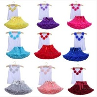Free Shipping 2014 Newest Lovely Multicolor Flower Dress Girls Pettiskirts Children's Tutu Dress Baby Kids Summer Dress Clothing