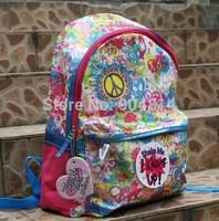2014 New desigual bag children 's schoolbag, girls' backpack, flower luminous classic school backpack