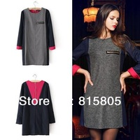 New Spring 2014 Fashion Women Winter Dress Basic Slim All-match Long-sleeve Warm Patchwork one-piece Elegant Summer Sexy Dress