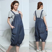 Hot Plus Size XXL 2014 Spring Summer Fashion Gravidas Denim Maternity Bib Pants Casual Jeans Jumpsuits Pregnant Women's Overalls
