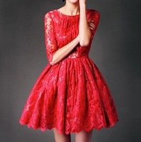 [Fashiom Melting Pot] red lace puffy dresses half sleeve three quarter sleeve dress one-piece dress free shipping