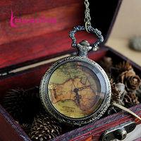 2014 New Arrival Antique Flower Back Map Shape Pocket Watch