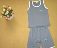 New arrival summer children's sports suit solid color cotton sleeveless vest + pants suit 3 Sizes/Lot ((BGDT-008))