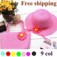 2014 girls summer hats new Straw Baby Sun hat with Bag, Kids Summer Hat, Big Brim Sunbonnet, children straw hats