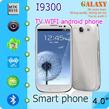 Smart phone I9300 phone  galaxy s3 phone, MTK6515 1.0GHz,Dual sim cards,4.0 inch screen,android 4.0.4 OS.256M ram,