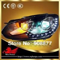 LED headlight for 2009-2012 Volkswagen Golf MK6 Headlight, Volkswagen golf 6 R20 Headlight with 15 LED and Bi-xenon Projector
