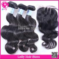 1 Piece Lace Closure With Bundles 3Pcs Hair Extension,4pcs/lot,Brazilian Virgin Hair Bundles With Closure Wholesale FreeShipping
