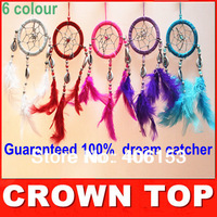 HOT!!! Guaranteed 100% beautiful dream catcher witn  Small shells 6piece/lot ,6 colours mixed , 6pcs in opp bag  Free shipping