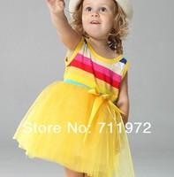 3 colors Summer Girl's Rainbow Dresses Baby Dresses girls Bow Wide Stripe Tutu dresses 4set/lot