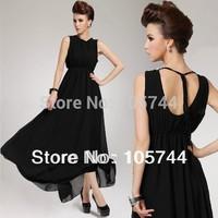Free shipping wholesale lady plus size chiffon long dress black color Simple Style long black dress chiffon S,M,L,XL 23508