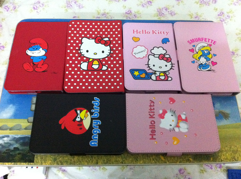 hello kitty cartoon universal adjutable Leather Case Cover Stand for 7 inch Tablet PC for Q88 PIPO S1 novo 7(China (Mainland))