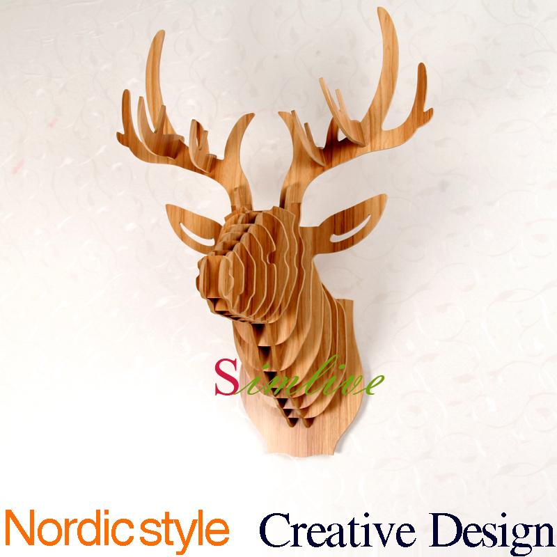 home decoration,Deer Head of DIY wooden crafts,animal head wall decor ,morden living room decor,carved wood art,elk decoraion(China (Mainland))