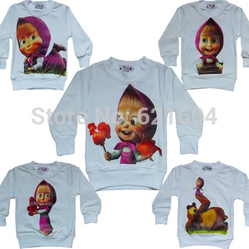 Hot 2013 New Retail Autumn Boys Girls Clothes 1 ~ 9 Age Cute Cartoon T Shirt  Kids  Children Clothes Masha And Bear