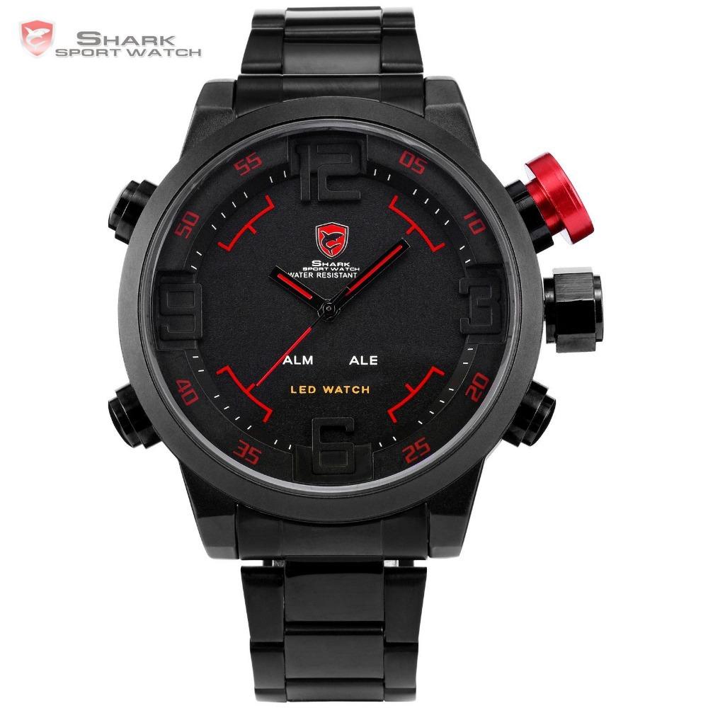 SHARK Analog Digital LED Stainless Full Steel Black Red Date Day