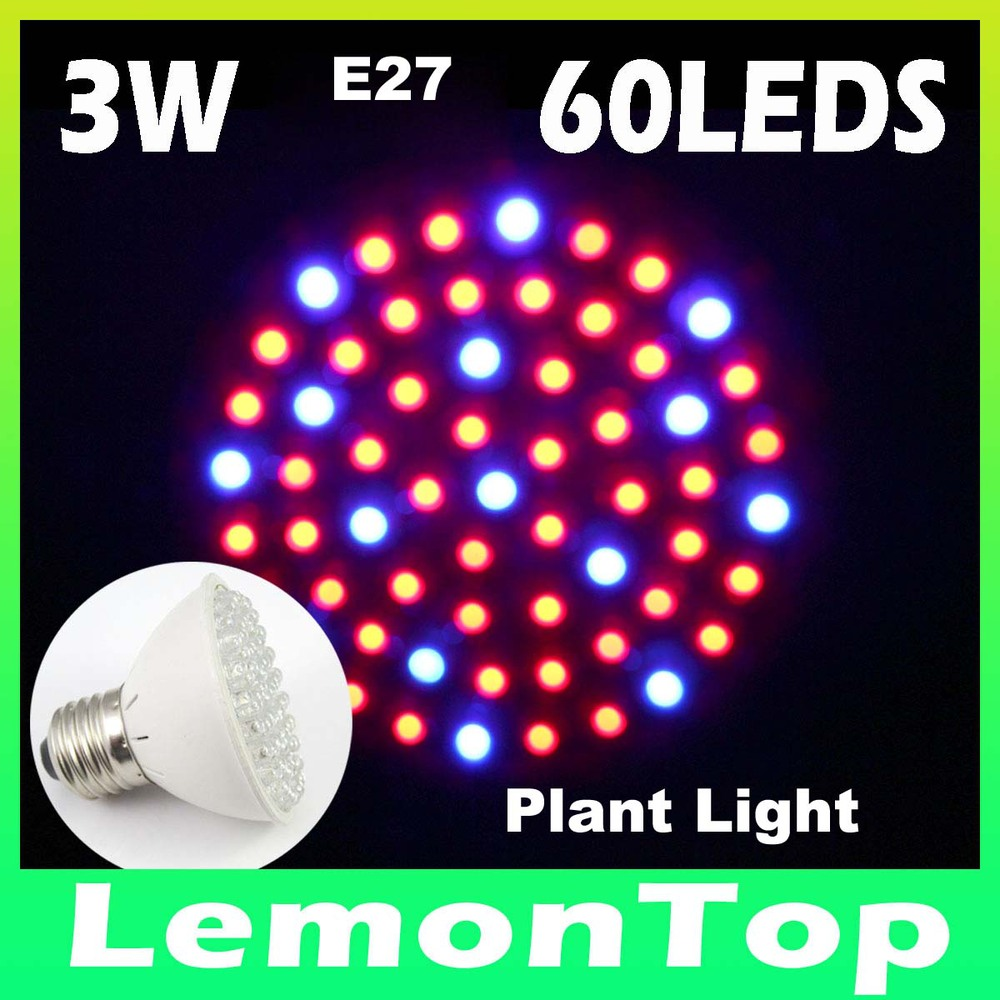 Newest Hydroponics Lighting 85-265V 3W E27 60LEDs Red and Blue LED Hydroponic Plant Grow Light Lamp Bulb For Flowers Vegetables(China (Mainland))