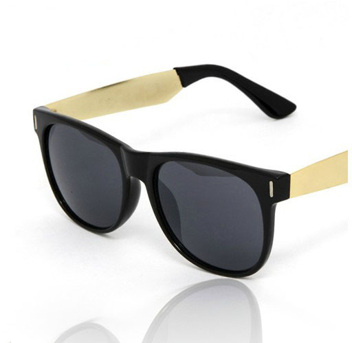 Hot Sale 2014 New Designer Retro Hipster Trendy Shades Retro Black Sunglasses Mens Gold Metal Arms Women Dark Sunglasses(China (Mainland))