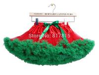 Extra fluffy baby girls red green Christmas party costume Fluffy chiffon pettiskirts tutu dance skirts