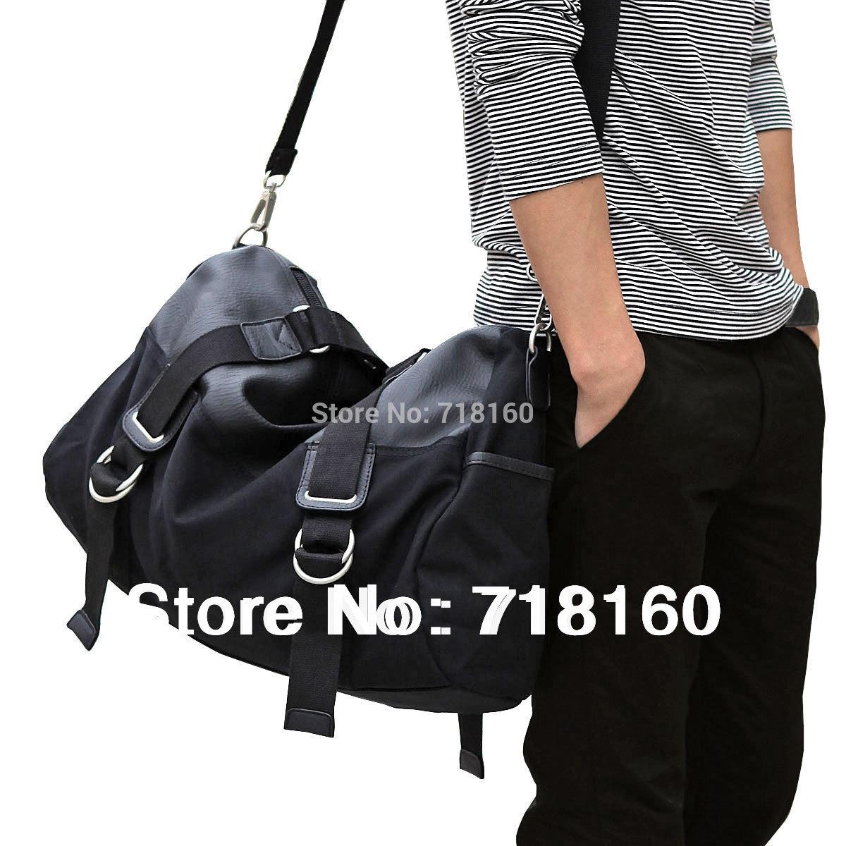 2014 New Fashion canvas men's travel bag messenger bags waterproof black color shoulder bag sports gym tote free shipping(China (Mainland))
