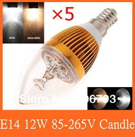 5pcs/lot E14/E27/E12 base fitting Dimmable 3w 6w 9w 12w AC85-265V warm /cold white LED candle bulb corn light, free shipping