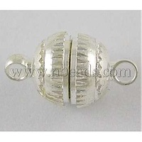 Alloy Magnetic Clasps,  Round,  Silver Color,  Size: about 8mm wide,  13mm long,  hole: 1.8mm