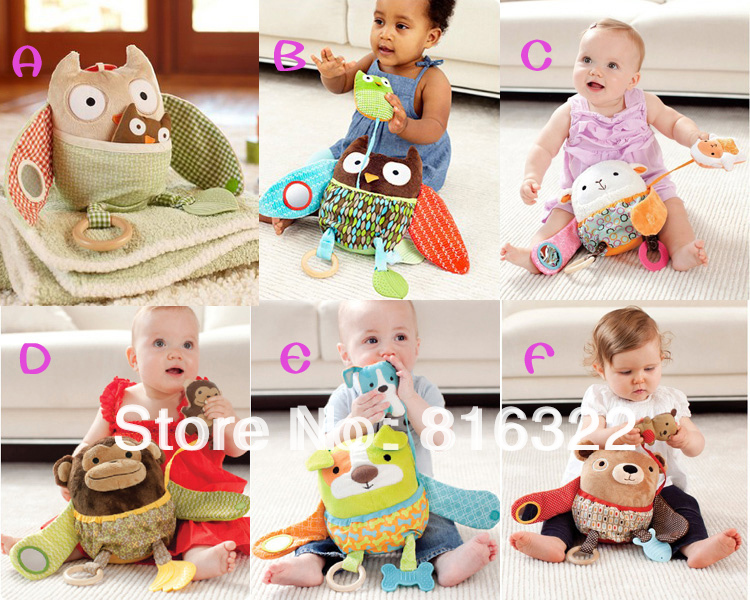 High Quality Hide Farm Owl Activity Toy Multi-functional Plush Toy Children Baby toys Comfort Doll Rattle Free Shipping(China (Mainland))