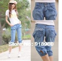 new sale XXL capris pants women's denim Haren Jeans/ladies' Pencil Gaucho pants/big size Skinny Pants Legging trousers/WtQ