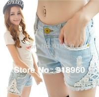 New sale Lace Women's Short Jeans Shorts/Sexy Summer Fashion Ladies Denim Shorts/hole Tassels lap short Trouser good quality/WtQ