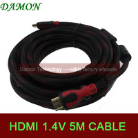 1pcs/lot gold plated long hdmi cable 5m 16ft monitor high speed hdmi 1.4 with ethernet hdmi-hdmi cable cord Full HD1080p 4K*2K