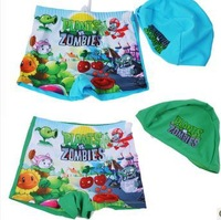 Free Shipping Child swimwear male baby child swimming trunks pants boys kids cartoon plant swimwear trunk florizone with hat cap