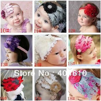 HOT 19 Designs Baby Girl feather Headband Headwear,Girls Topknot Hair wear,Infant baby girls feather Hair Band Headwrap LZ-O0029