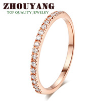 ZYR132 Gold Concise Crystal  Ring 18K Rose Plated Made with Genuine Austrian Crystals Full Sizes Wholesale