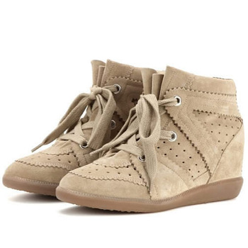 Fashion Isabel Marant Genuine Leather Low 'Bobby' Wedge Sneaker,Lace-up 14-styles,Size 35~42,Height Increasing 7cm,Women's Shoes
