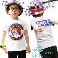 2014 summer clothing clothes letters cotton cartoon boys short sleeve t shirt 3T-10