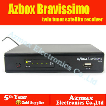 In Stock Original Azbox bravissimo twin tuner digital decoder DVB-S2 Free iks support nagra3 HK Post Free Shipping