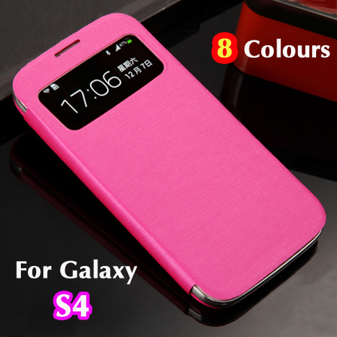 For Samsung Galaxy S4 S 4 I9500 9500 Original S View Sleep Wake Up Function Flip Leather Back Cover Case Battery Housing Cases(China (Mainland))