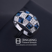 Checkered Style White Gold Plated Blue Sapphire Austrian Crystals with Rhinestone Studded Ring For Woman(JingJing GA053)
