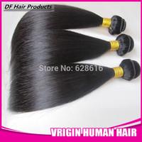 "DF hair:5 Bundles/lot Malaysian Silky Straight  Weave Beauty Virgin Human Hair Extension 60g/pc Natural#1b 8-28""  Hair"