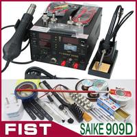 110V or 220V Saike 909D 3 in 1 Heat Air Gun Solder Iron Soldering Station + Power Supply