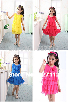 Free shipping girls dresses summer 2013 girls dress Rainbow Dress cute dress Chiffon Ball Gown Children tutu dress 4 color 20010