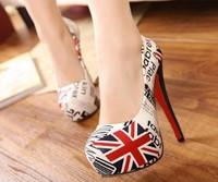 Women size 11 heels 5 inch Red bottom high heels 15cm British flag platform pumps women shoes 2013