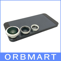 3 in 1 Fisheye 180 degree Lens + Wide Angle + Micro Lens Photo Kit Set for iPhone 4 4S 5 5S Galaxy S3 S4 Note 2 3 HTC ONE