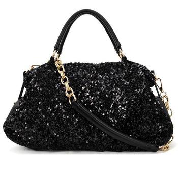 Free Shipping Sequins Women New Fashion Chain PU Handbag  Shoulder Bag Brand Designer Messenger Bag Morer #93