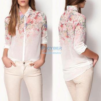Cheap Women Flower Print Lapel Chiffon Blouses Long Sleeved Shirt 3Sizes 15928