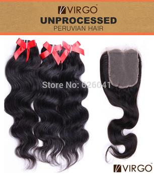 Cheap 3pcs Peruvian Virgin Hair Plus 1pcs Lace Closure Body Wave Hair Top Closure Virgo Hair Products 100% Human Hair Weaves
