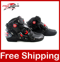 Motorcycle Boots Pro-biker SPEED Bikers Moto Racing Boots Motocross Leather Shoes A9001 40/41/42/43/44/45/46/47 Plus size